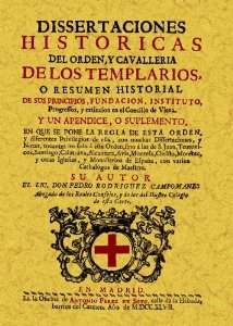 Portada de TEMPLARIOS: DISERTACIONES HISTORICAS DE ORDEN Y CAVALLERIA