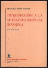 Portada de INTRODUCCIÓN A LA LITERATURA MEDIEVAL ESPAÑOLA